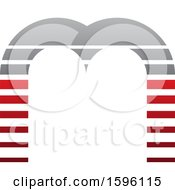 Striped Gray And Red Letter M Logo