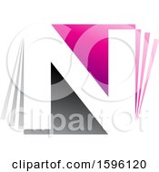 Gray And Pink Letter N Logo