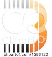 Striped Gray And Orange Letter B Logo