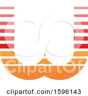 Clipart Of A Striped Red And Orange Letter W Logo Royalty Free Vector Illustration