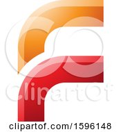 Clipart Of A Rounded Corner Orange And Red Letter F Logo Royalty Free Vector Illustration