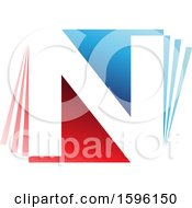 Clipart Of A Red And Blue Letter N Logo Royalty Free Vector Illustration