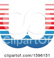 Clipart Of A Striped Red And Blue Letter W Logo Royalty Free Vector Illustration