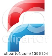 Clipart Of A Rounded Corner Red And Blue Letter F Logo Royalty Free Vector Illustration