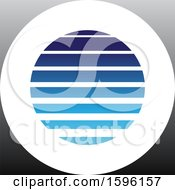 Clipart Of A Striped Blue Letter O Logo Royalty Free Vector Illustration