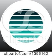 Clipart Of A Striped Turquoise And Gray Letter O Logo Royalty Free Vector Illustration
