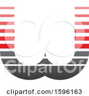 Clipart Of A Striped Gray And Red Letter W Logo Royalty Free Vector Illustration