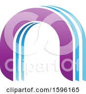 Clipart Of A Blue And Purple Arched Letter N Logo Royalty Free Vector Illustration