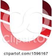 Clipart Of A Striped Red Letter U Logo Royalty Free Vector Illustration