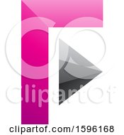 Clipart Of A Pink And Gray Corner And Triangle Letter F Logo Royalty Free Vector Illustration