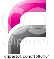 Clipart Of A Rounded Corner Pink And Gray Letter F Logo Royalty Free Vector Illustration