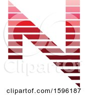Clipart Of A Striped Red Letter N Logo Royalty Free Vector Illustration