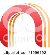 Clipart Of A Red And Orange Arched Letter N Logo Royalty Free Vector Illustration