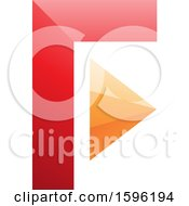 Clipart Of A Red And Orange Corner And Triangle Letter F Logo Royalty Free Vector Illustration