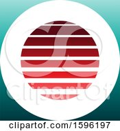Clipart Of A Striped Red And Turquoise Letter O Logo Royalty Free Vector Illustration