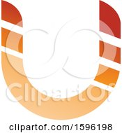 Clipart Of A Striped Orange Letter U Logo Royalty Free Vector Illustration