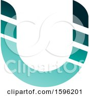 Clipart Of A Striped Turquoise Letter U Logo Royalty Free Vector Illustration