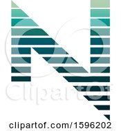Clipart Of A Striped Green Letter N Logo Royalty Free Vector Illustration