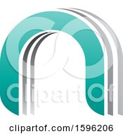 Clipart Of A Gray And Turquoise Arched Letter N Logo Royalty Free Vector Illustration