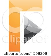 Clipart Of An Orange And Gray Corner And Triangle Letter F Logo Royalty Free Vector Illustration
