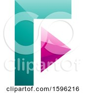 Clipart Of A Turquoise And Pink Corner And Triangle Letter F Logo Royalty Free Vector Illustration