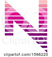 Clipart Of A Striped Magenta Letter N Logo Royalty Free Vector Illustration