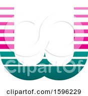 Clipart Of A Striped Pink And Green Letter W Logo Royalty Free Vector Illustration