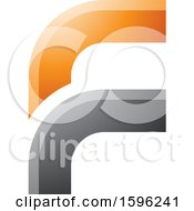 Clipart Of A Rounded Corner Orange And Gray Letter F Logo Royalty Free Vector Illustration