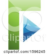 Clipart Of A Green And Blue Corner And Triangle Letter F Logo Royalty Free Vector Illustration