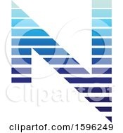 Clipart Of A Striped Blue Letter N Logo Royalty Free Vector Illustration