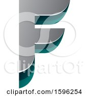 Clipart Of A Layered Gray And Green Letter F Logo Royalty Free Vector Illustration