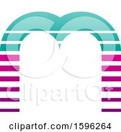 Striped Turquoise And Magenta Letter M Logo