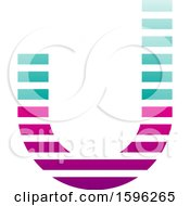 Striped Turquoise And Magenta Letter J Logo