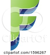 Clipart Of A Layered Green And Blue Letter F Logo Royalty Free Vector Illustration