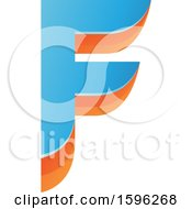 Clipart Of A Layered Blue And Orange Letter F Logo Royalty Free Vector Illustration