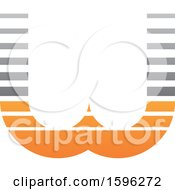 Clipart Of A Striped Gray And Orange Letter W Logo Royalty Free Vector Illustration
