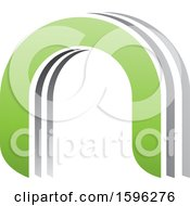 Gray And Green Arched Letter N Logo