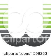 Clipart Of A Striped Gray And Green Letter W Logo Royalty Free Vector Illustration