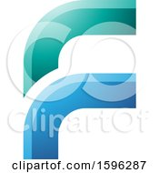 Rounded Corner Green And Blue Letter F Logo