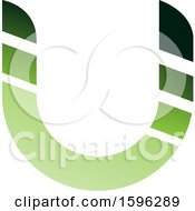Clipart Of A Striped Green Letter U Logo Royalty Free Vector Illustration