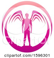 Poster, Art Print Of Male Angel Standing In A Magenta Oval