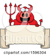 Clipart Of A Chubby Red Devil Holding A Pitchfork Over A Banner Royalty Free Vector Illustration
