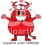 Chubby Red Devil With Hearts And Open Arms