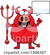 Clipart Of A Chubby Red Devil Holding A Pitchfork And Talking Royalty Free Vector Illustration