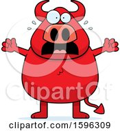 Clipart Of A Scared Chubby Red Devil Royalty Free Vector Illustration