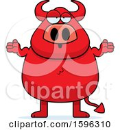Clipart Of A Careless Shrugging Chubby Red Devil Royalty Free Vector Illustration