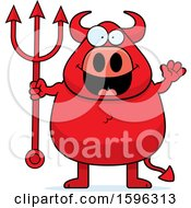 Clipart Of A Chubby Red Devil Holding A Pitchfork And Waving Royalty Free Vector Illustration