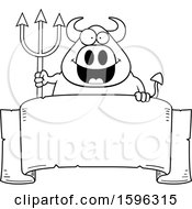 Clipart Of A Black And White Chubby Devil Holding A Pitchfork Over A Banner Royalty Free Vector Illustration