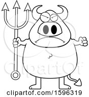 Clipart Of A Black And White Mad Chubby Devil Holding A Pitchfork Royalty Free Vector Illustration