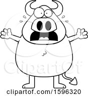 Clipart Of A Black And White Scared Chubby Devil Royalty Free Vector Illustration